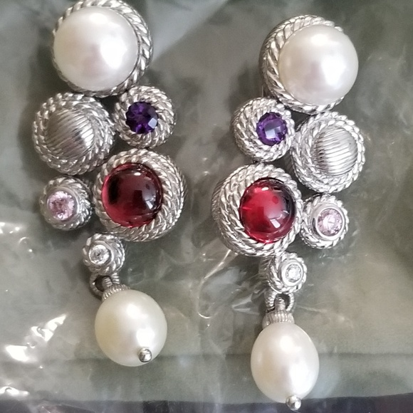 05bc3448f Judith Ripka Jewelry - New J Ripka Sterling Pearl multi gemstone earrings